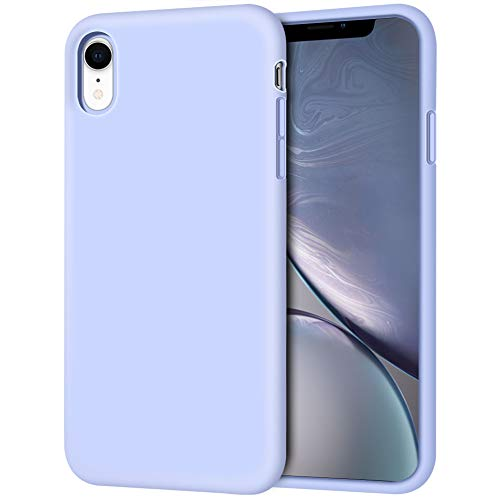 iPhone XR Case, Anuck Soft Silicone Gel Rubber Bumper Phone Case with Anti-Scratch Microfiber Lining Hard Shell Shockproof Full-Body Protective Case Cover for Apple iPhone XR 6.1 2018 - Light Purple