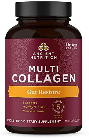 Collagen Pills with Probiotics for Gut Health by Ancient Nutrition, Multi Collagen Capsules Gut Restore 90 Ct, Supports Gut, Joints, Hair & Nails, Gluten Free, Paleo and Keto Friendly