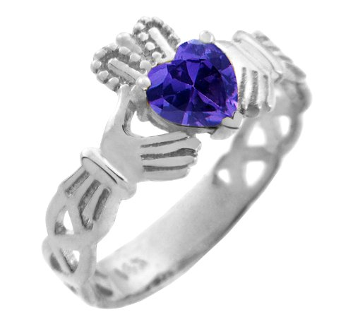 14k White Gold Celtic Knot Band Purple CZ Heart Claddagh Ring (Claddagh Heart Ring Celtic Amethyst)