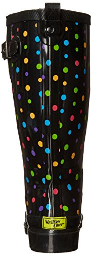 Western Chief Women Waterproof Printed Tall Rain Boot, Ditsy Dot, 6 M US