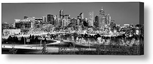 Canvas Denver Skyline at Dusk Black & White Bw City Downtown Broncos Photographic Panorama