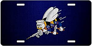 ExpressItBest Premium Aluminum License Plate - U.S. Naval Construction Force (CBS, Seabees), Logo from ExpressItBest