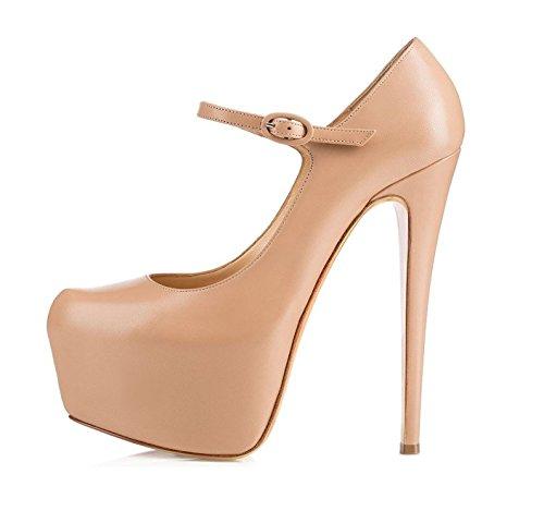 EDEFS Womens Round Toe Platform Court Shoes Mary Jane Stiletto Heel Pumps Beige