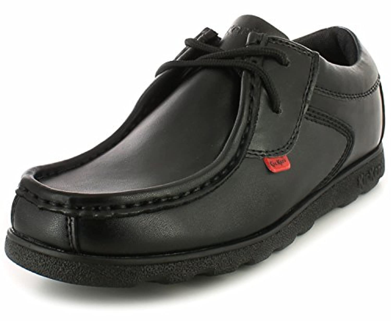 New Boys/Childrens Black Kickers Mocassin Style School Shoes. - Black - UK SIZE 3
