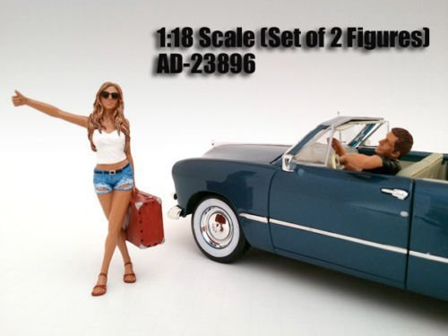 NEW 1:18 FIGURE MODELS - HITCHHIKER 2 PIECE FIGURE SET By American Diorama - AD-23896
