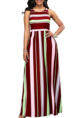 - Malluo Women's Floor Length Maxi Dresses with Pockets Casual Sleeveless Vertical Stripe Long Dress for Summer(Red, L)