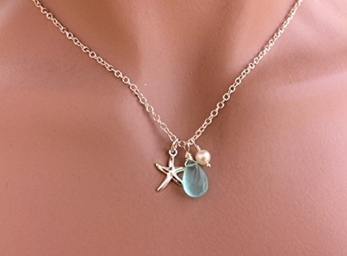 20 inch - Sale - Sterling Silver Starfish Aqua Blue Chalcedony Pearl Necklace by Vintagerelics Free Shipping