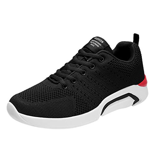 (SUNyongsh Men's Fashion Shoes Casual Breathable Flats Non Slip Sport Shoes Athletic Running Shoes Solid Sneakers Black)