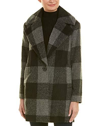 (kensie Women's Plaid Cocoon Wool Coat, Black/Charcoal, Medium)