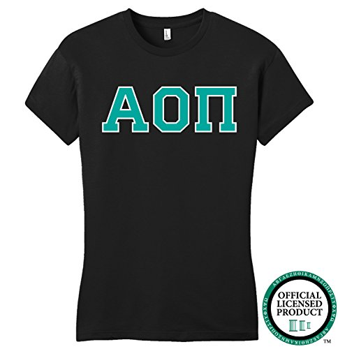 ALPHA OMICRON PI | Turquoise Letters - Licensed Fitted Ladies' T-shirt-Ladies,