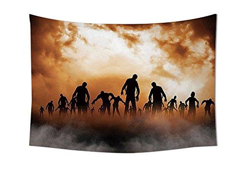 asddcdfdd Halloween Decorations Tapestry Wall Hanging Zombies Dead Men Body Walking in the Doom Mist at Dark Night Sky Haunted Decor Bedroom Living Room Dorm Decor Orange Black
