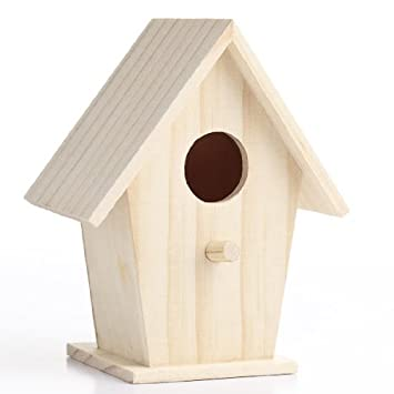 Amazon.com: Set of 4 Unfinished Wooden Birdhouses for Crafting ...