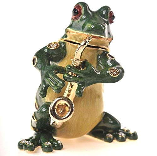 Keren Kopal Musical Frog Playing Flute Faberge Styled Trinket Box Handmade Decorated with Swarovski Crystals ()