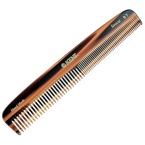 Kent Handmade Comb, Coarse and Fine Toothed Comb Sawcut, Large, 9T 7 1/2' 192 mm