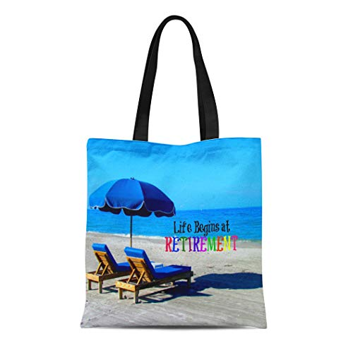 Ablitt Tote Bag Shoulder Bags Canvas Retired Life Begins at Retirement Beach Beautiful Sandy Chairs Grocery bag Women's Handle Shoulder Tote Shopper Handbag