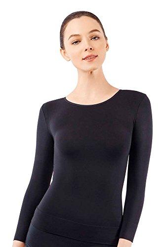 MD Womens Compression Slimming Shirts Undershirts Tummy Waist Bust Three-Quarter Sleeves Round Neck