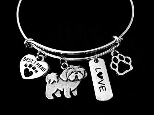 Shih Tzu Dog Expandable Charm Bracelet Silver Adjustable Wire Bangle Gift Best Friend Paw Print Pet Animal Lover Jewelry Gift Personalization Customization Options (Tzu Paw Shih Prints)