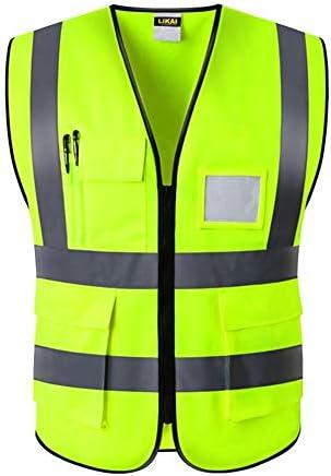 反射ベストナイト建設のための安全ベストはジッパー男性用ベスト簡単にきれいなマルチポケット付き防水耐摩耗性 (サイズ : XL)