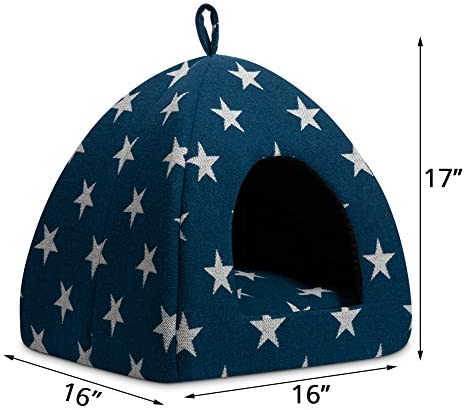 Hollypet Pet Bed, Self-Warming 2 in 1 Cat Tent Cave for Kittens and Small Dogs, 16 x 16 x 17 inches Triangle Feline House Hut with Washable Cushion for Indoor Outdoor, Blue