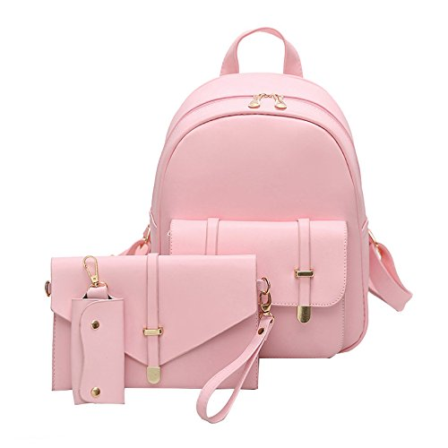 d36810712998 AFfeco 3pcs Women PU Leather Backpack School Bag Shoulder Bag Card  Holder(Pink)