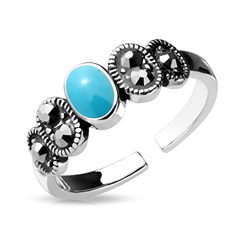 Fifth Cue Black Diamond Crystal & Turquoise Center Adjustable Rhodium Plated Brass Finger Mid-Ring or Toe Ring
