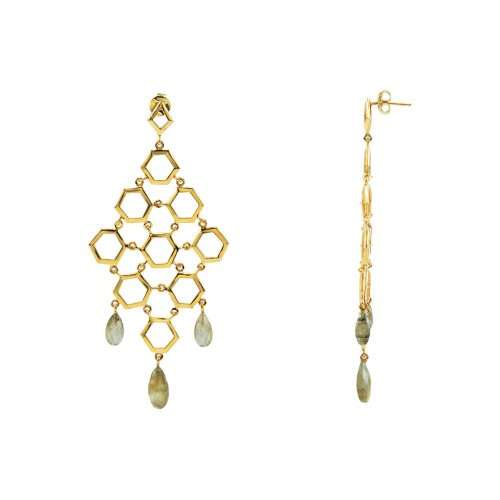 18K Vermeil Labradorite Chandelier Earrings in 18k Yellow Gold Vermeil