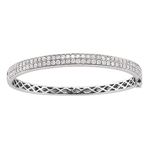 Jewels By Lux 14kt White Gold Womens Round Diamond Classic Double Row Bangle Bracelet 2.00 Cttw In Pave Setting (SI3 clarity; H-I color)