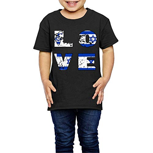 Love Independence Day Jewish Israeli Flag Costume Toddler/Infant Crew Neck Short Sleeve Shirt T-Shirt for 2-6 Toddlers -