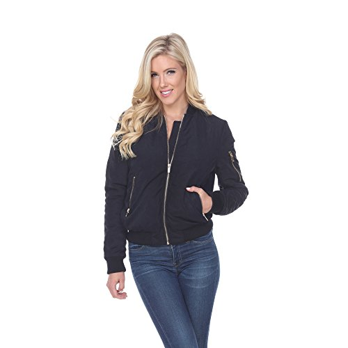 White Mark Women's Classic Solid Bomber Jacket Short Quilted Zipper Coat (Medium, Black) from White Mark