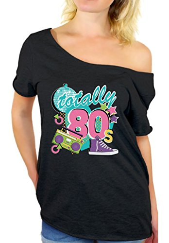 Awkward Styles 80s Off The Shoulder Tshirt 80s Shirts 80s Accessories for Women Black S -
