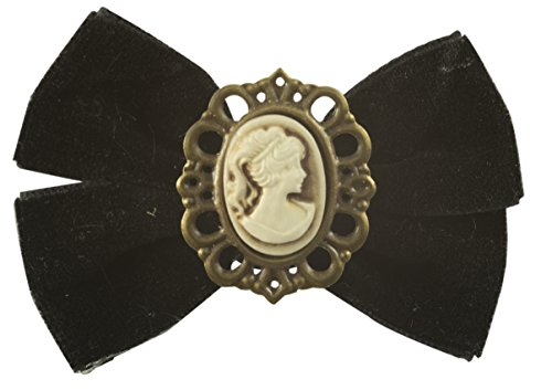 Cameo Brooch in Antique Brass Finish with Black Velvet Bow Pin