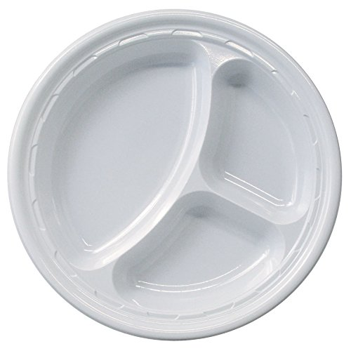 Dart 10CPWF, 10.25-Inch Famous Service White Compartmented Impact Plastic Plate, Take Out Catering Food Disposable Dinner Plates (100)