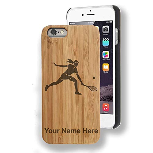 - Bamboo case Compatible with iPhone 7 Plus and iPhone 8 Plus, Tennis Player Woman, Personalized Engraving Included