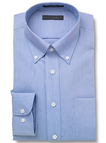 (Damon Ultra Pinpoint Dress Shirt | Button Down Collar Blue 17 1/2 x 32/33)