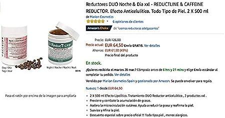Anticelulítico Reductores DUO Noche & Dia xxl - REDUCTLINE & CAFFEINE REDUCTOR. Textura Gel. Todo Tipo de Piel. 2 X 500 ml.