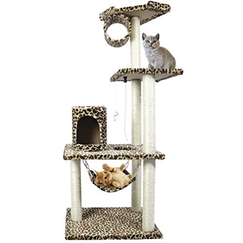 Cat Tree Scratcher Play House Condo Furniture Bed Post Pet House (Leopard Skin 61″)