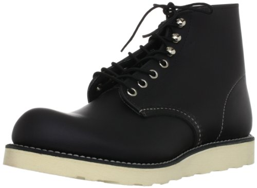 Red Wing Heritage Men's 6' Round Toe-U, Black Chrome Leather, 7.5 D (M)