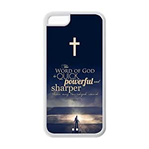 Apple Iphone 5C Case Cover TPU Bible quote Creative Charming Character Cross HEBREWS 4:18 she word of god is quick