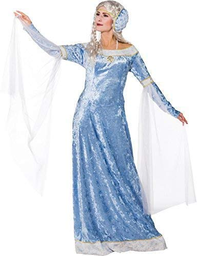 Ladies Long Ice Blue Medieval Maid Marian Renaissance Lady In Waiting TV Book Film Fancy Dress Costume Outfit (UK 14-16 (EU 42/44))]()