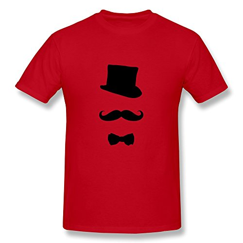 Custom Crew Neck Cool Gentleman Top Hat Male T-Shirt Size L Red