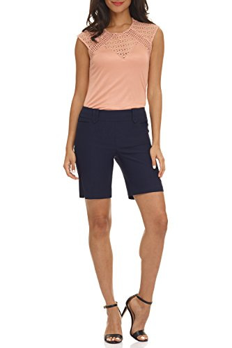 Blue Summer Shorts (Rekucci Women's Ease In To Comfort Fit Perfection Modern Office Short (12,Navy))