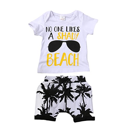 Kids Toddler Baby Boys Girls No One Likes A Shady Beach Glasses Shirt and Palm Shorts Set (70 (6-12M), - Baby Beach