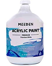 MEEDEN Heavy Body Acrylic Paint (2L /67 oz.) with Pump Lid, Non-Toxic Rich Pigments Colors, Perfect for Acrylic Poured Paintings, Art Class, Wall Painting & Painting Party,Titanium White