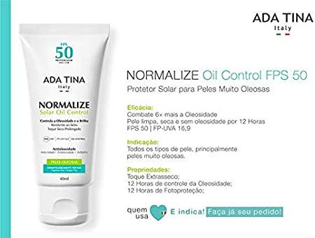 Ada Tina Normalize Oil Control Fps 50 Protetor Solar Facial 40ml