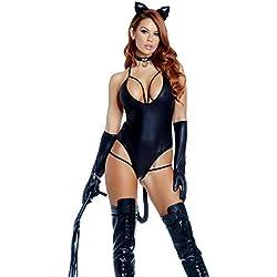 Forplay - Disfraz de Gato Sexy para Mujer, Talla S/M, Color Negro