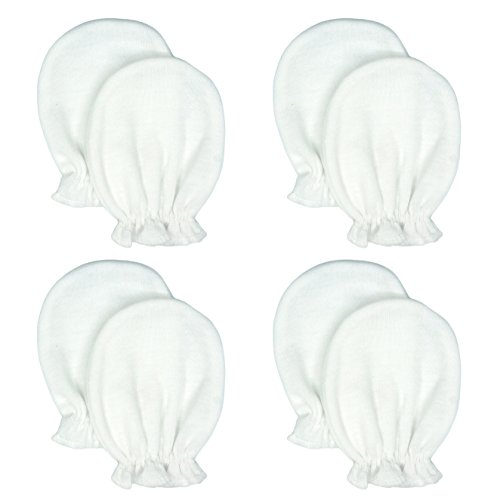 Liwely 4 Pairs Unisex-Baby No Scratch Mittens, 100% Cotton, Solid White Newborn Kit