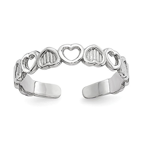 14k Solid White Gold Polished Hearts Toe Ring - Heart Solid Toe Ring