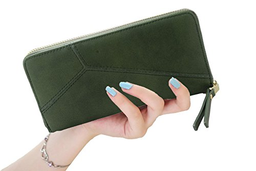 SeptCity Womens Wallet Wristlet Minimalism Fashion,Gift for Her,4555 (Mixed Green Check)