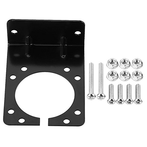 Connector Plug Socket Mounting Bracket, Right Angle Plug Socket Bracket Connector with Complete Screws & Nuts Black for 7 Pin Caravan Towing Trailer