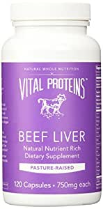 Vital Proteins Pasture-Raised, Grass-Fed Beef Liver (120 Capsules, 750mg each)